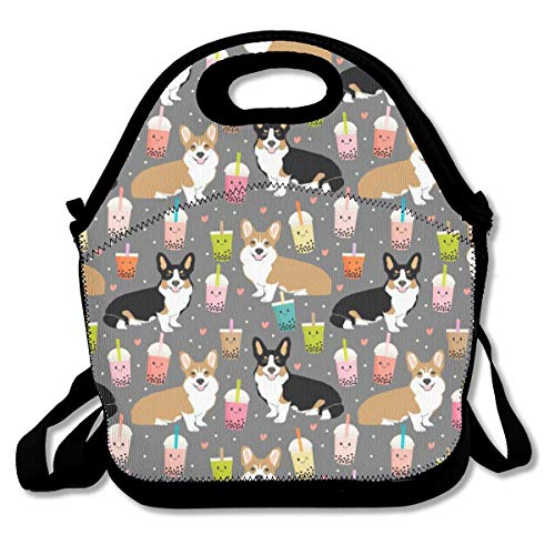 Corgi boba tea bubble tea kawaii food welsh corgis dog breed gifts Neoprene Lunch Tote Bag with Shoulder Straps for Adults,Women,Girls,School Children-Suitable for Travel,Picnic,Office