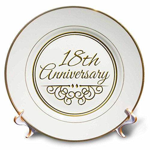 3dRose cp_154460_1 18Th Anniversary Gift Gold Text for Celebrating Wedding Anniversaries 18 Years Married Together Porcelain Plate, 8-Inch