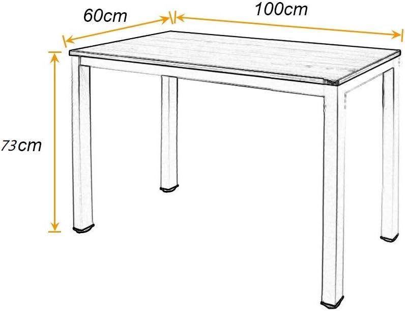 Nero BHEU-LD-AC100BW sogesfurniture Scrivania per Computer 100x60cm Tavolo per Computer Ufficio Postazioni di Lavoro Scrivania PC Tavolo da Pranzo Moderno in Acciaio Legno