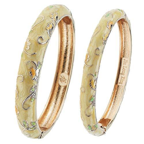 (UJOY Cloisonne Bangle Bracelet Flower Enamel Hinged Metal Cuff Bracelets Sets Jewelry Box Gift for Women 55A108-B30 Butterfly)