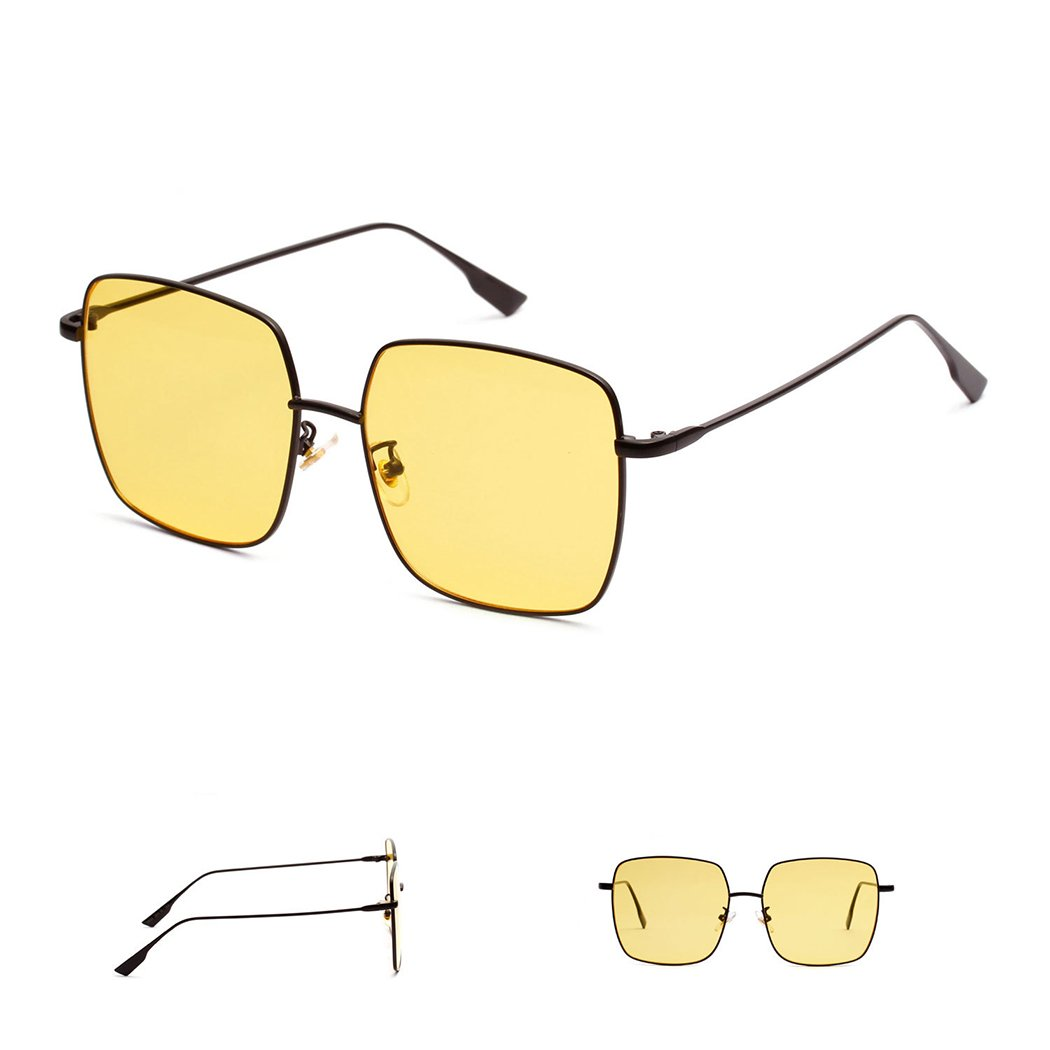 mioim Damen Sonnenbrille Platz Rahmen Bunte Gläser UV400 Augenschutz ...