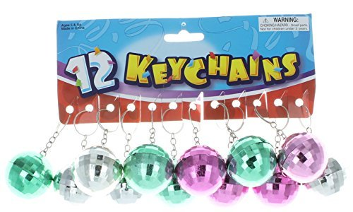 Lot of 12 Disco Ball Key Chain Mirror Reflection Asst (Mirror Ball Keychain)