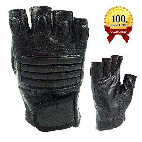 Mens Black Leather Fingerless Gloves - 8