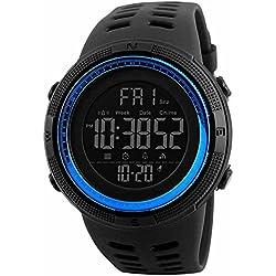 SKMEI Reloj para Hombre, Digital, Deportivo, Retroiluminación, Resistente al Agua, con Cronómetro, Alarma y Fecha, Dial Grande, Modelo 1251. Negro con Azul
