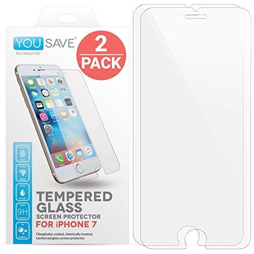 iPhone 7 Glas Displayschutz [2 Pack], von Yousave Accessories [Sicherheitsglas] [3D Touch Kompatibel] 0.3mm Dünn / 9H Härte Grad