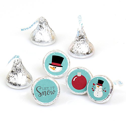 Let It Snow - Snowman - Holiday & Christmas Round Candy Sticker Favors – Labels Fit Hershey's Kisses (1 sheet of 108)