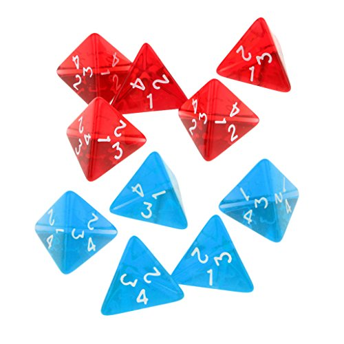 SunniMix 10Pcs Kids Party Bag Fillers D4 Dices 10Pcs for Party Card Game Gaming Dices