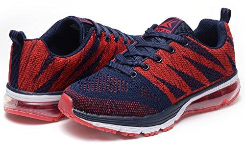 Odema Herren leichte Knit Breathable gepolsterte Sport Trainer Gym Fitting Schuhe Blau Rot
