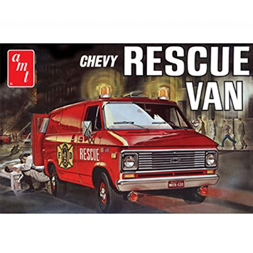 (AMT 1:25 Scale Plastic 1975 Chevy Rescue Van Model Kit (Red))