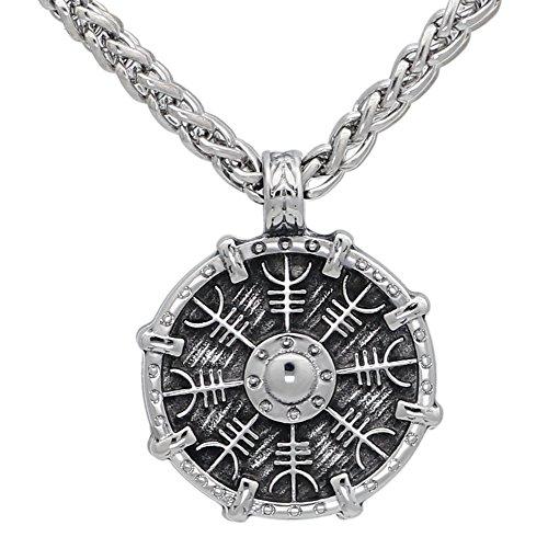 (GuoShuang Men Stainless Steel Norse Viking Shield Aegishjalmur Talisman Pendant Necklace with Viking Gift bagklace with Viking Gift Bag )