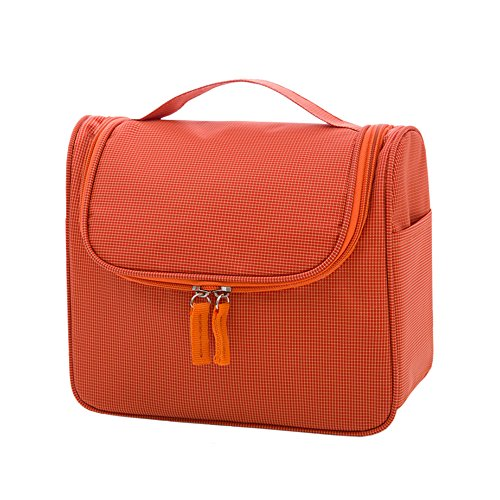 Orange Peel Tweezer (Zhenxinmei Premium Toiletry Bag Multi-function Cosmetic Bag Waterproof Wash Bags Nylon Makeup Case Beautiful Portable Outdoor Travel Organizer Kit Hanging Receive Bag Mini Makeup Train Case (Orange))