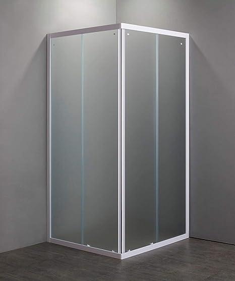 GRANISUD Mampara de Ducha Cristal Mate Templado 4 mm de Abertura corredera, 2 Lados, Perfiles Blanco, 70 x 70 cm, H 185 cm: Amazon.es: Hogar