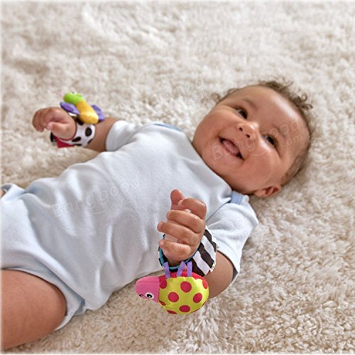 Pink Lizard 4Pcs Baby Infant Kids Cute Animals Rattles Foot Finders Toys Hand Wrist Socks Set
