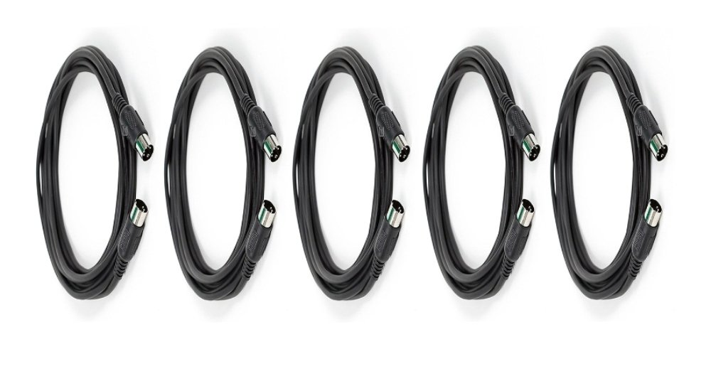 MIDI Cable with 5 Pin DIN Plugs 10 Feet Black 2 Pack ft