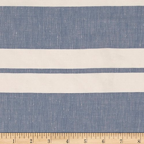 - Fabric Cotton Linen Stripe Sky/White Yard