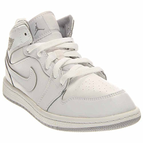 Jordan Kids 1 Mid BP White Wolf Grey Size 3 by Jordan