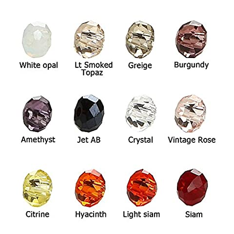BRCbeads Crystal Glass Beads Finding Spacer Charms 1200pcs Faceted #5040 Briollete Rondelle Shape 2x3mm Assorted Colors include Plastic Jewelry Container Box Wholesale Mix lot for jewelery - Beads And Findings