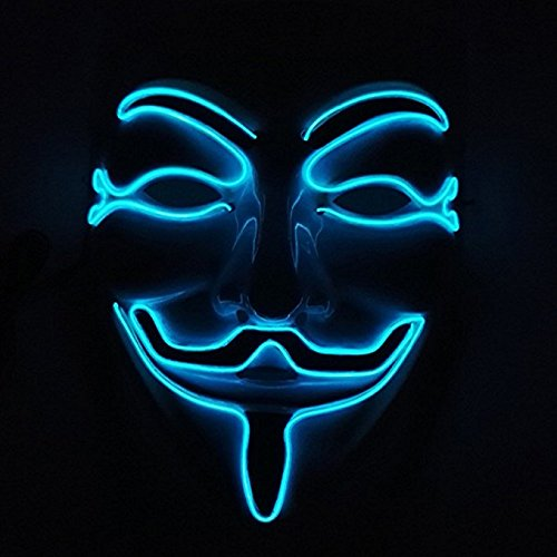 Creepy Dance Costumes (Interomgl Wire Glowing V for Vendetta Guy Fawkes Scary Death Rave Mask Light Up Headwear Nightlife Cool Clown Creepy Puppet Cosplay Costume Mask for Halloween Festival DJ Birthday Parties Blue)