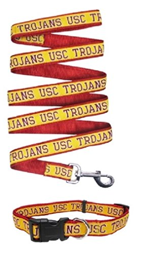 USC Trojans Nylon Collar and Matching Leash for Pets (NCAA Official by Pets First) Size Large by Pets First