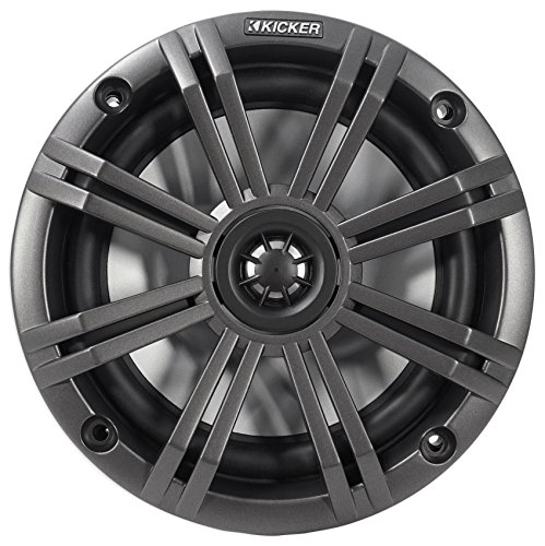 Charcoal and White Grilles Kicker KM65 6.5-Inch 20mm 165mm Marine Coaxial Speakers with 3//4-Inch Tweeters 4-Ohm