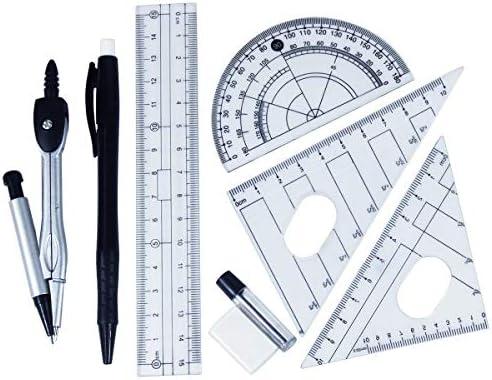 Set Compás de Geometría Juego de Reglas y Compas Escuadra, Cartabón, Regla y Semicírculo Pack Escolar con Estuche 8 Pezzi: Amazon.es: Oficina y papelería