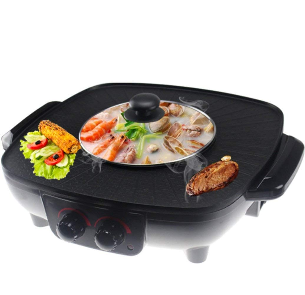 WSJTT Large Multi Cooker | Electric Frying Pan with Glass Lid,Barbecue Hot Pot Double Pot,Electric Hot Pot Electric Barbecue Electric Baking Pan,41cm Non-Stick Surface and Cool Touch Handles | 1700W