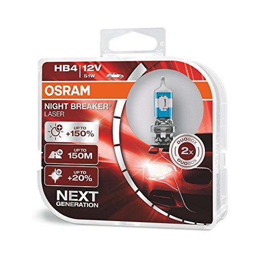 OSRAM NIGHT BREAKER LASER HB4/9006, next generation, 150% more brightness, halogen headlamp, 9006NL-HCB, 12V, passenger car, duo box (2 lamps) ()