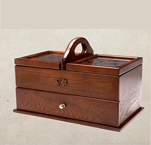 GFYWZ Wooden Carved Cosmetic Storage Box Covered Home Large size Rectangle Needle and thread Finishing box , 35cm20cm22.5cm by GFYWZ