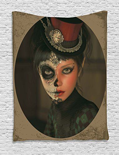 Ambesonne Sugar Skull Tapestry, Antique Portrait Girl with Calavera Inspired Makeup and Topper Realistic Design, Wall Hanging for Bedroom Living Room Dorm, 40 W X 60 L Inches, Beige]()