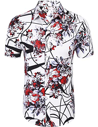 Daupanzees Mens Fashion Short Sleeve Street Wear Slim Fit Silk Urban Polyester Disco Luxury Print Button Up Shirts (Red M)