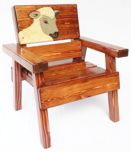 - Kids Heirloom Wooden Chair with Arms, Engraved and Painted Sheep, Indoor or Outdoor