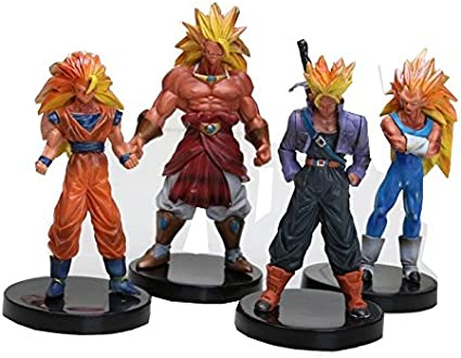 Pack 4 figurnes Dragon Ball Z Broly, Vegeta, Trunks, Goku: Amazon ...