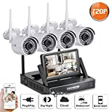 """Cheap SW SWINWAY 1280 720P HD Wireless 1MP Outdoor Security Network Camera with 4 Channel 7"""" Monitor Wifi NVR CCTV Surveillance Systems Support Smartphone Remote view NO Hard Disk"""