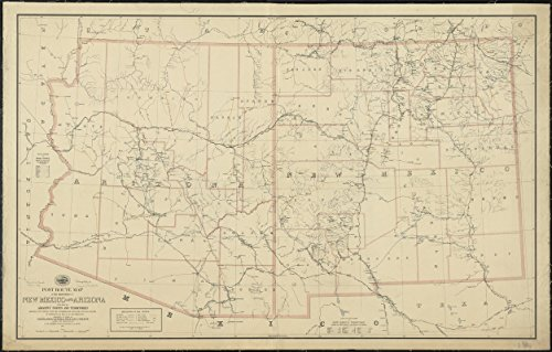 Post Office Antique - Historic Map | 1884 Post route map of the territories of New Mexico and Arizona with parts of adjacent states and territories showing post offices | Antique Vintage Reproduction | 5131603