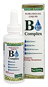 Nature's Bounty B Complex with B12 Sublingual Liquid Fast Acting Dietary Supplement 2 ounce