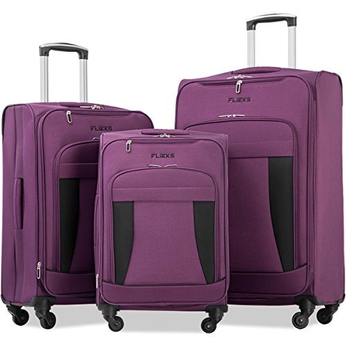 - Merax Flieks 3 Piece Luggage Set Expandable Spinner Suitcase, Purple&Black