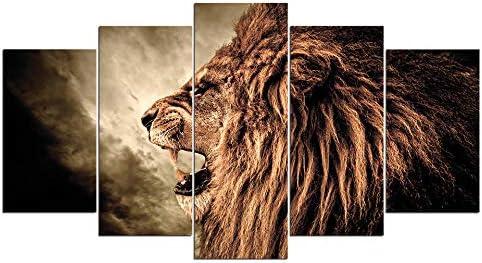 プリントポスター用リビングルームウォールアート5ピースライオンキャンバス絵画抽象写真家の装飾40X60Cmx2 40X80Cmx2 40X100Cmx1なしフレーム