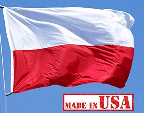 land Polish Flag (Sewn Stripes) Outdoor SolarMax Nylon (No Seal) - Premium Quality - 100% Made in America (3x5 FT) ()