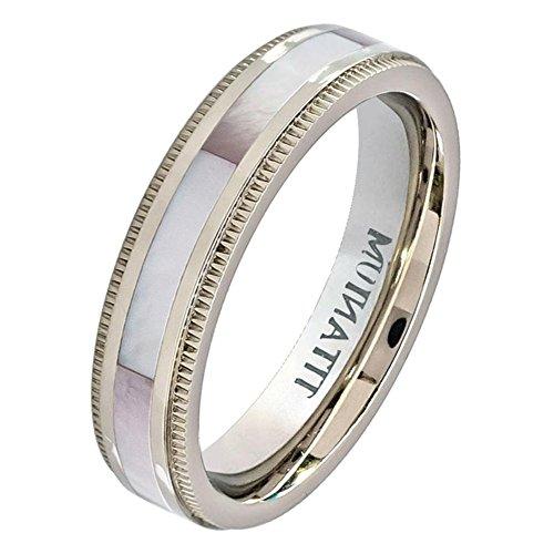 iPauly 5mm Titanium Milgrain Edge Pinkish Mother of Pearl Inlay Wedding Band Ring