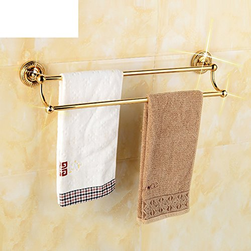 Titanium copper Towel Bar/Bathroom hardware accessories/European gold Towel rack/Towel shelf /Double Towel (Gold Oval Shelf)