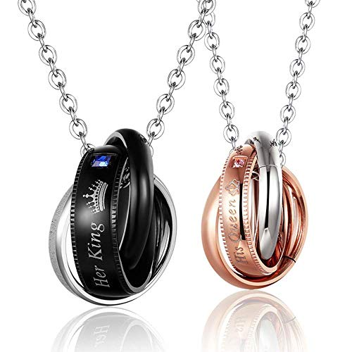 - MJartoria His & Hers Matching Set Stainless Steel Couples Pendant Necklace for Lover Valentine Wedding Anniversary Valentine's Present (Her King His Queen-3 Rings)