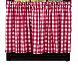 IHF Home Decor Picnic Red Pattern 36″ Tiers Window Treatments Unlined Natual Cotton Material 72 Inch x 36 Inch Review