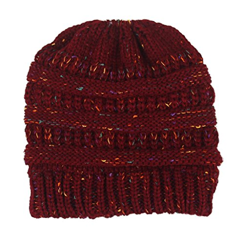 Women Letter Hat Wool Knitted Wine Red - 6