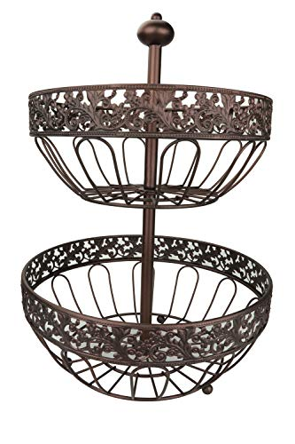 RosyLine 2-Tier Fruit Basket home Fruit Basket Decorative Display Stand, Multi purpose bowl, Home accent furnishings by DongJiang (Image #1)