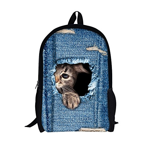 Cynthia Doll Costume (TOREEP Cute Cat Dog Print Casual Laptop Backpack School Bookbag)