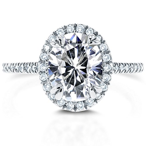Oval Moissanite Engagement Ring with Halo Diamond 2 1/3 CTW 14k White Gold