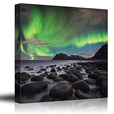 Made With Top Quality, Beautiful Handicraft, Green Northern Lights Over an Ocean Filled with Rocks