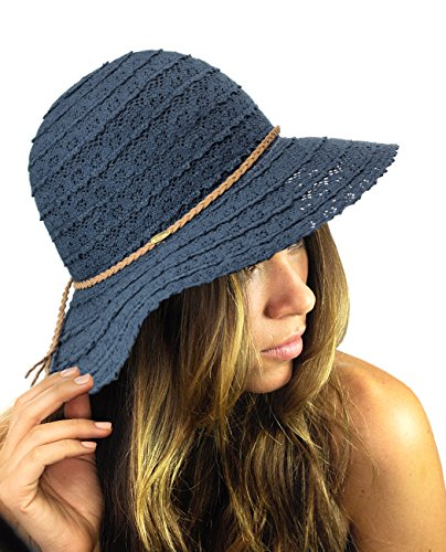 NYFASHION101 Open Knit Brown Braided Trim Vented Cotton Beach Sun Hat - Navy ()