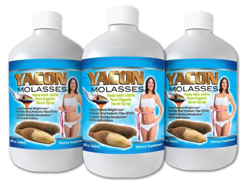 Yacon Molasses - 100% Organic Yacon Syrup - Super Charge Your Metabolism - 3 Bottle
