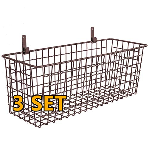 3 Set [Extra Large] Hanging Wall Basket for Storage, Wall Mount Sturdy Steel Wire Baskets, Metal Hang Cabinet Bin Wall…